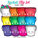 Rainbow Buckets Clip Art