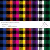 Rainbow Buffalo Plaid Digital Papers, background, 8 colors