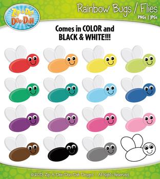 Rainbow Bugs / Flies Clipart {Zip-A-Dee-Doo-Dah Designs}