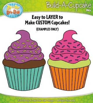 Build A Cupcake Clip Art Set — Over 150 Rainbow Graphics!