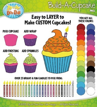 Build A Cupcake Clipart {Zip-A-Dee-Doo-Dah Designs} | TpT