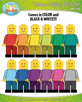 Rainbow Building Block Men Clip Art — Over 15 Graphics!