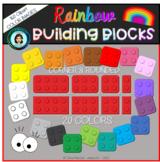 Rainbow Building Blocks Clipart / Construcciones de colore