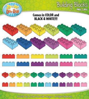 Rainbow Building Blocks Clipart {Zip-A-Dee-Doo-Dah Designs}