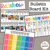 Rainbow Bulletin Board Kit Editable Banners, Whitewash, Burlap