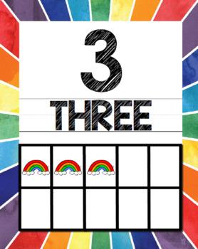 Rainbow Bundle (Calendar, Word Wall, Numbers, ABC Posters)