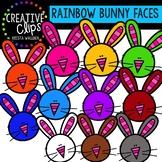 Rainbow Bunny Faces: Spring Clipart {Creative Clips Clipart}