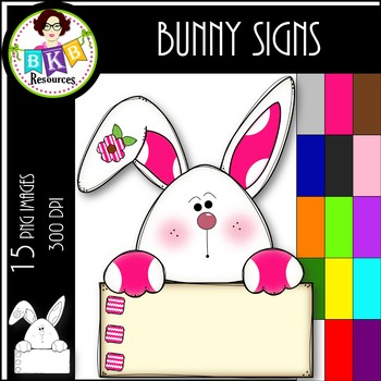 Rainbow Bunny Signs ● Clip Art ● Products for TpT Sellers