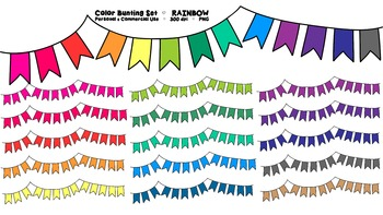 Rainbow Bunting Banner Clipart - 16 graphics - Commercial Use