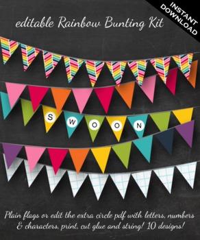 Rainbow Bunting - Printable Editable Rainbow, Graph Paper and Chevron Bunting