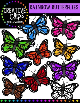 Rainbow Butterflies {Creative Clips Digital Clipart}