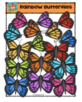 Rainbow Butterflies {P4 Clips Triorignals Digital Clipart}
