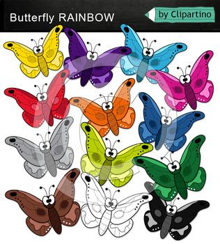 Rainbow Butterfly Clip Art
