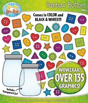 Rainbow Buttons Clipart {Zip-A-Dee-Doo-Dah Designs}