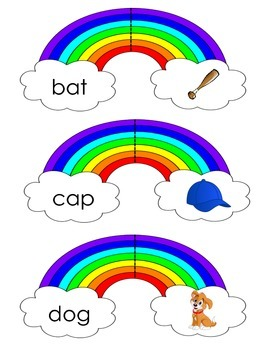 Rainbow CVC Word and Picture Match