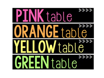 Rainbow Caddy Table Labels