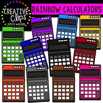 Rainbow Calculators {Creative Clips Digital Clipart}