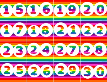 Rainbow Calendar Numbers or Student Cubby Numbers