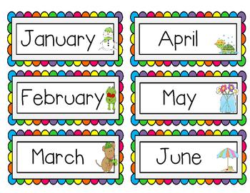 Rainbow Calendar Pieces