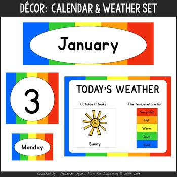 Rainbow Theme Calendar Set & Weather Station
