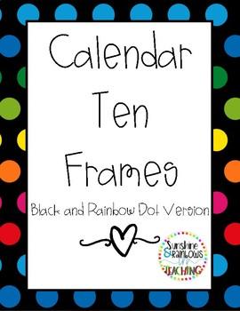 Rainbow Calendar Ten Frames Black background