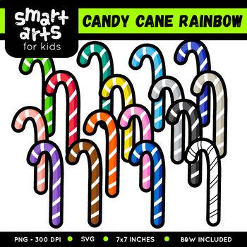 Rainbow Candy Cane Clip Art