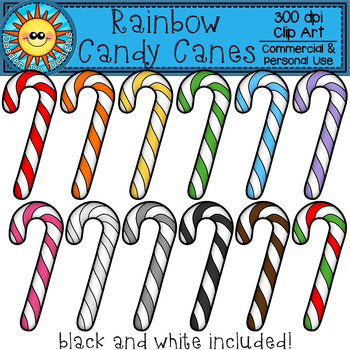 Rainbow Candy Canes Clip Art