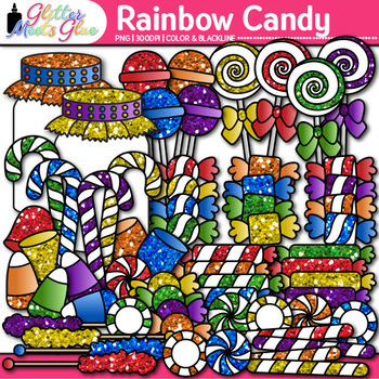 Rainbow Candy Clip Art {Glitter Lollipops, Sweets, & Jars for Scrapbooking}