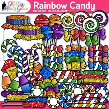Rainbow Candy Clip Art | Glitter Lollipops, Sweets, & Jars for Scrapbooking