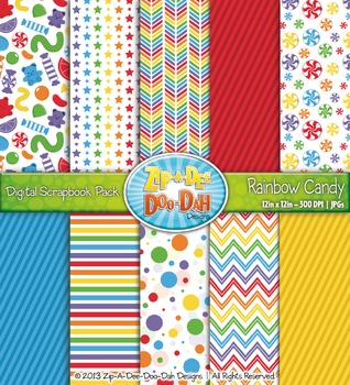 Rainbow Candy Style 1 Digital Scrapbook Pack (10 Pages)