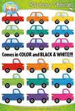Rainbow Vehicles (Cars & Trucks) Clipart {Zip-A-Dee-Doo-Dah Designs}