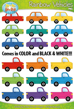 Rainbow Vehicles (Cars & Trucks)  Clipart Set — Includes 2