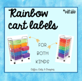 Rainbow Cart Labels- 15 drawer cart OR 10 drawer cart