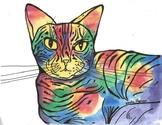 Rainbow Cat Coloring Sheet