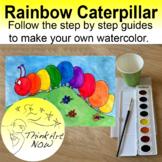 Art Lesson - Rainbow Caterpillar - Watercolor - Think Art Now