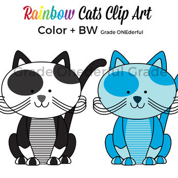 Rainbow Cats Clip Art, Colorful Kittens
