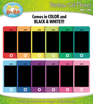 Rainbow Cell / Smart Phone Clipart {Zip-A-Dee-Doo-Dah Designs}