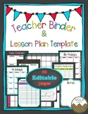 Rainbow Chalk Teacher Binder/ Lesson Plan Template- EDITABLE