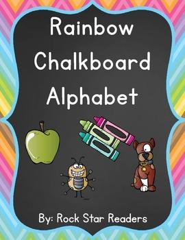 Rainbow Chalkboard Alphabet Posters