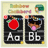 Rainbow Chalkboard Alphabet Posters | Uppercase, Lowercase