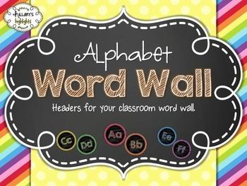 Rainbow Chalkboard Alphabet Word Wall Headers