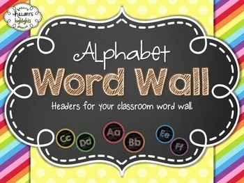Rainbow Chalkboard Alphabet Word Wall Headers