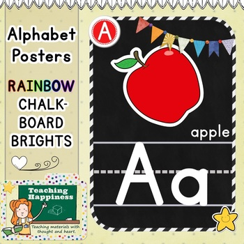 Rainbow Chalkboard BRIGHTS Alphabet Posters Set | Uppercase, Lowercase  & Words