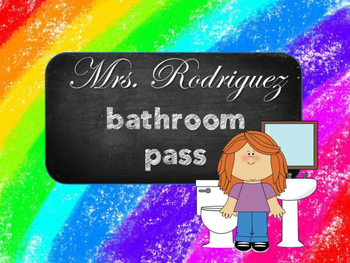 Rainbow Chalkboard Bathroom  Pass Necklace
