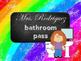 Rainbow Chalkboard Bathroom  Pass Necklace