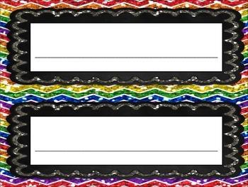 Rainbow Chalkboard Chevron Nameplates Name Plates Tags Desk