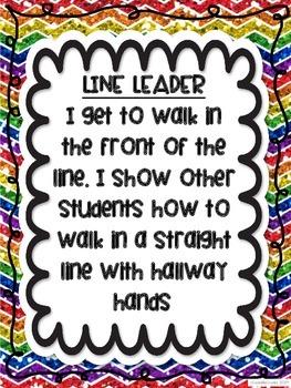 Rainbow Chalkboard Chevron Theme Themed Classroom Class Jobs Glitter