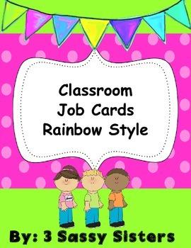 Rainbow/ Chalkboard Classroom Helper Cards