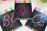 Classroom Decor-Rainbow Chalkboard Cursive Alphabet