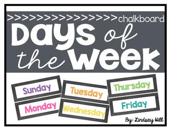Chalkboard Days of the Week